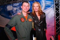 Pilot of F-16 Fighter jet of the Royal Netherlands Airforce and Frederique van der Wal, Glmaour model