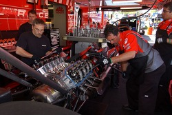 Doug Kalitta's crew works on the car between qualifying rounds
