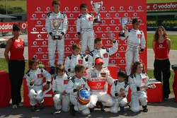 Vodafone Spain Go-Karting Challenge: Fernando Alonso, McLaren Mercedes, with the young Go-Karters