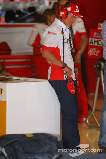 Michael Schumacher, Scuderia Ferrari, Advisor, visits the team on a race weekend for the first time since retiring
