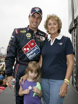 David Reutimann poses for a photo with his mom Linda Reutimann and daughter Emilia Reutimann