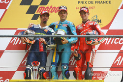 Podium: race winner Chris Vermeulen, second place Marco Melandri, third place Casey Stoner