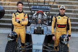 Romain Grosjean and Pastor Maldonado with the Mad Max Lotus F1 car