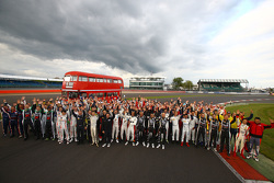 Drivers group photoshoot with a double decker bus