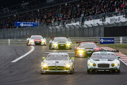 #2 Black Falcon Mercedes-Benz SLS AMG GT3: Yelmer Buurman, Andreas Simonsen, Adam Christodoulou, Bernd Schneider and #84 Bentley Team Bentley Continental GT3: Jeroen Bleekemolen, Lance David Arnold, Christian Menzel, Christopher Brück