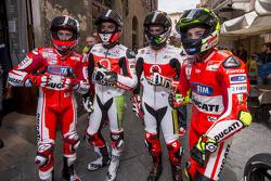 Andrea Dovizio, Ducati Team and Yonny Hernandez and Dani Petrucci, Pramac Racing Ducatis and Andrea Iannone, Ducati Team in Piazza del Campo, Siena