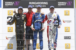 Podium: race winner Egor Orudzhev, Arden Motorsport, second place Roberto Merhi, Pons Racing, third place Oliver Rowland, Fortec Motorsports