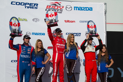 Podium: race winner Spencer Pigot, second place Jack Harvey, third place Felix Serralles