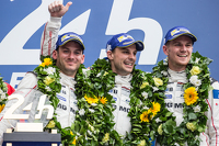 Le Mans Photos - LMP1 podium: class and overall winners Porsche Team: Nico Hulkenberg, Nick Tandy, Earl Bamber