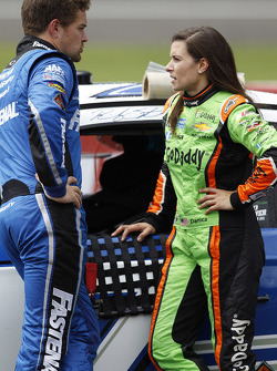 Ricky Stenhouse Jr., Roush Fenway Racing Ford and Danica Patrick, Stewart-Haas Racing Chevrolet talk during the rain delay