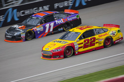 Joey Logano, Team Penske Ford and Denny Hamlin, Joe Gibbs Racing Toyota