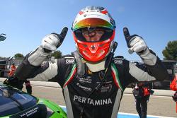 Polesitter Mirko Bortolotti celebrates