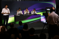 The post race FIA Press Conference,: Lewis Hamilton, Mercedes AMG F1, second; Nico Rosberg, Mercedes AMG F1, race winner; Felipe Massa, Williams, third..