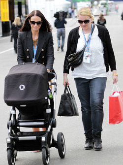 Minttu Virtanen, girlfriend of Kimi Raikkonen, Ferrari, with a pushchair
