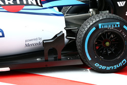 Susie Wolff, Williams FW37 Development Driver running a winglet in front of the rear wheel
