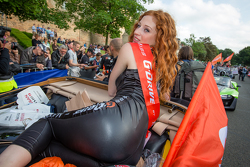 A charming G-Drive Racing girl takes it easy