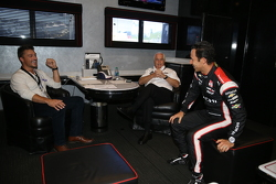 Chris Soules from The Bachelor and Roger Penske and Helio Castroneves, Team Penske
