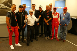 (L to R): Kai Ebel, RTL TV Presenter; Nico Rosberg, Mercedes AMG F1; Bernie Ecclestone, and Frank Hoffmann, RTL Television Programme Managing Director; Nico Hulkenberg, Sahara Force India F1; Sebastian Vettel, Ferrari; and Niki Lauda, Mercedes Non-Executive Chairman, as RTL announce a contract extension to show F1 through 2016-17