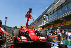 The Ferrari SF15-T of Kimi Raikkonen, Ferrari is recovered back to the pits on the back of a truck after qualifying