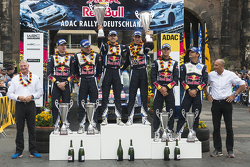 Podium: winners Sébastien Ogier and Julien Ingrassia, Volkswagen Polo WRC, Volkswagen Motorsport, second place Jari-Matti Latvala and Miikka Anttila, Volkswagen Polo WRC, Volkswagen Motorsport, third place Andreas Mikkelsen and Ola Floene, Volkswagen Polo