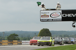 Paul Menard, Richard Childress Racing Chevrolet leads the final restart