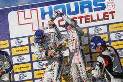LMP3 podium: winners Chris Hoy, Charlie Robertson celebrate