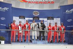 Privateer LMP1 podium: first place Simon Trummer, Pierre Kaffer, ByKolles Racing, second place Dominik Kraihamer, Daniel Abt, Alexandre Imperatori, Rebellion Racing, third place Nicolas Prost, Nick Heidfeld, Mathias Beche, Rebellion Racing