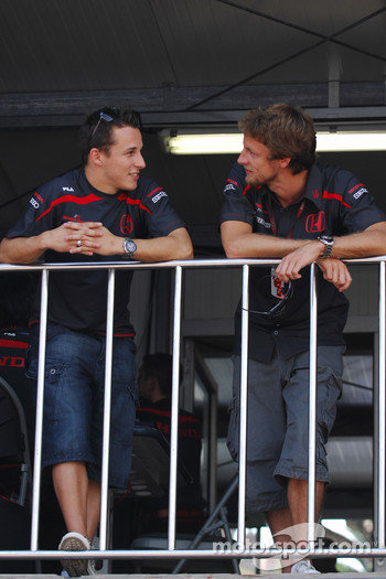 Christian Klien, Test Driver, Honda Racing F1 Team and Jenson Button, Honda Racing F1 Team