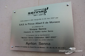 Plaque for Monaco Senna Celebration
