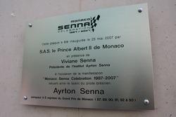 Plaque for Monaco Senna Celebration