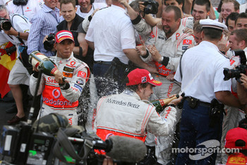 Champagne for Lewis Hamilton and Fernando Alonso