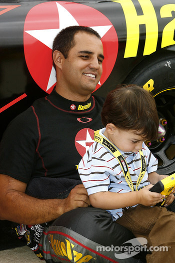 Juan Pablo Montoya and his young son Sebastian
