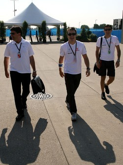 left to right, Luis Garcia Abad, Manager of Fernando Alonso, Fernando Alonso, McLaren Mercedes and Pedro de la Rosa, Test Driver, McLaren Mercedes
