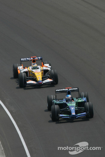 Jenson Button, Honda Racing F1 Team, RA107 leads Giancarlo Fisichella, Renault F1 Team, R27