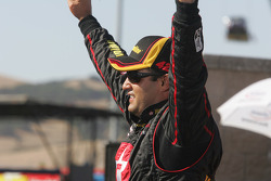 Victory lane: race winner Juan Pablo Montoya celebrates