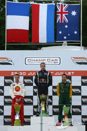 Podium: race winner Robert Doornbos with Sébastien Bourdais and Will Power