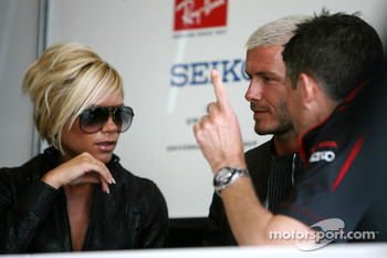 Nick Fry, Honda Racing F1 Team, Chief Executive Officer, David Beckham, and his wife Victoria Beckham,