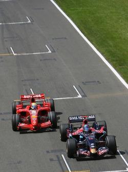 Felipe Massa, Scuderia Ferrari, F2007 prepares to overtake Vitantonio Liuzzi, Scuderia Toro Rosso, STR02