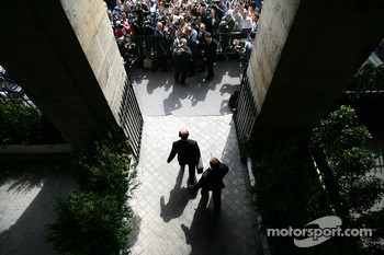 Ron Dennis, McLaren, Team Principal, Chairman exits FIA Headquaters after his team were given no punishement in their case of spying allegations with Scuderia Ferrari