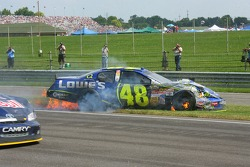 Jimmie Johnson crashes