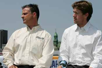 Pre-event press conference: crew chief Pierre Kuettel and Carl Edwards driver for the #60 Ford NASCAR Busch Series car