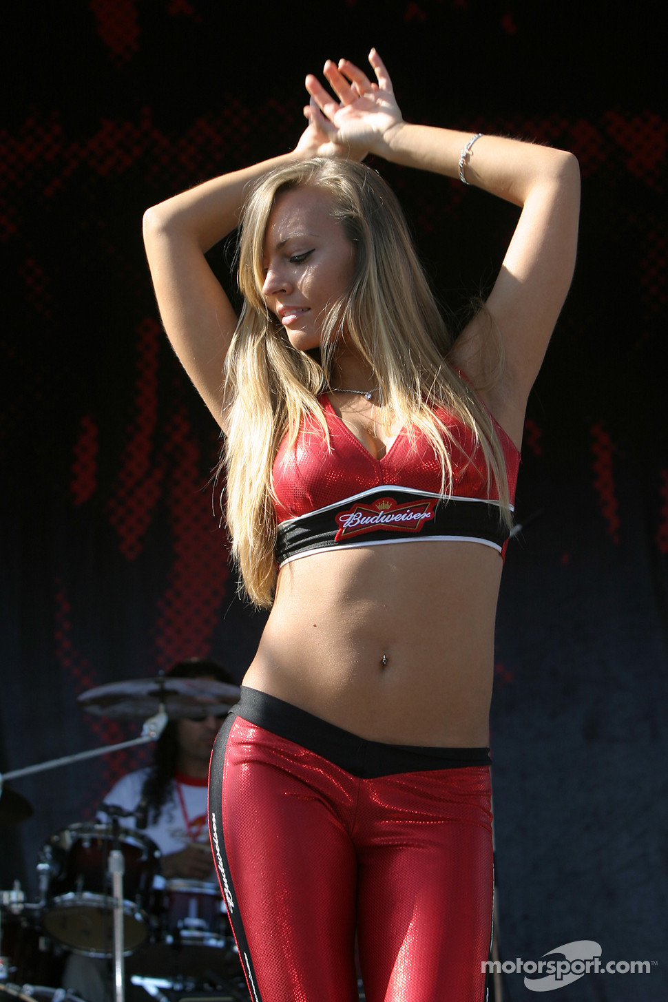 A lovely Budweiser girl entertain the fans