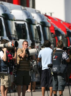Photographers in the paddock