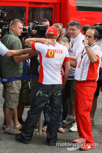 Kimi Raikkonen, Scuderia Ferrari is interviewed by the press