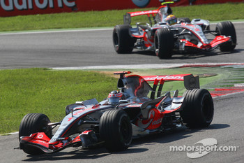 Fernando Alonso, McLaren Mercedes, MP4-22 leads Lewis Hamilton, McLaren Mercedes, MP4-22