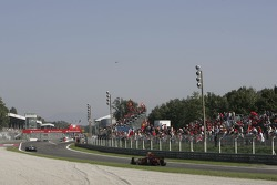 The GP2 field race down the straight