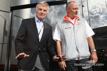 After a $100,000,000 fine for McLaren, Max Mosley, FIA President and Ron Dennis, McLaren, Team Principal, Chairman pose for a photograph and a hand shake