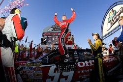 Victory lane: race winner Carl Edwards celebrates