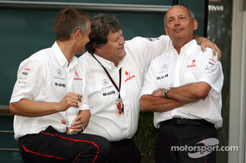 l-r, Martin Whitmarsh, McLaren, Chief Executive Officer, Norbert Haug, Mercedes, Motorsport chief and Ron Dennis, McLaren, Team Principal, Chairman