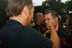 Sebastian Vettel, Scuderia Toro Rosso and Gerhard Berger, Scuderia Toro Rosso, 50% Team Co Owner celebrate after he finished 4th